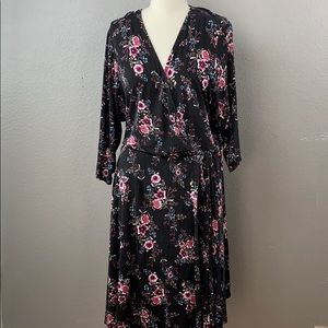 Torrid 3/4 sleeve floral print faux wrap dress
